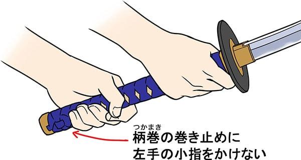 日本刀の握り方 柄頭に小指はかけない