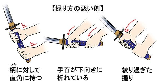 日本刀の握り方の悪い例