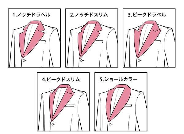 スーツのえりの種類