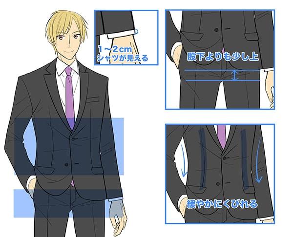 スーツのシルエット