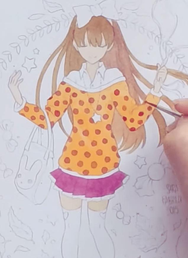 スカートのベースの色を塗る