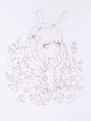コピックで描くウサ耳女の子アナログイラストメイキングお絵かき講座