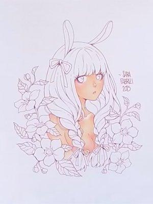 ウサ耳の女の子の肌を塗る