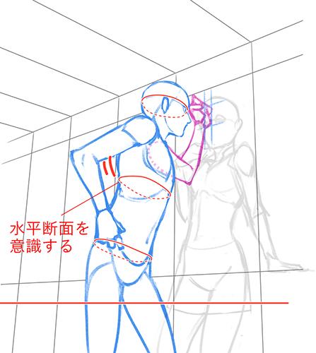 壁に手をつくポーズのラフ