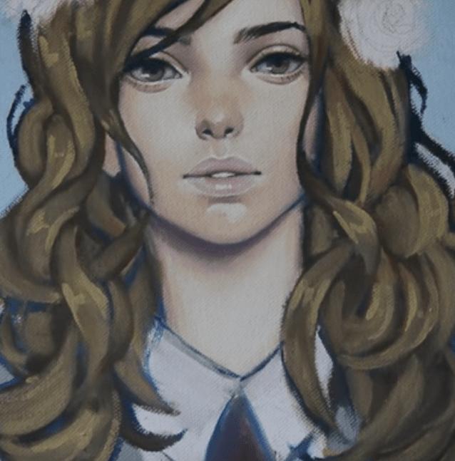 髪の影とハイライトを描き込む