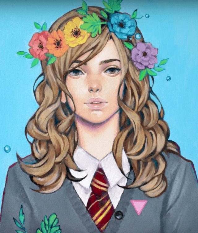 花冠をつけた女の子のイラストの完成