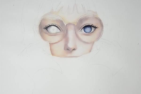 水彩で目を描く