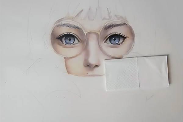 水彩と色鉛筆でで目を描く
