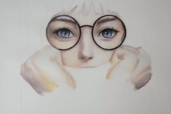 水彩でメガネ、眉毛、手を描く