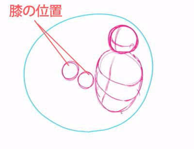 膝の位置を描く