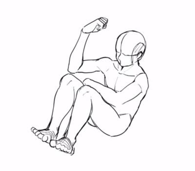 円で描いたポーズの下描き