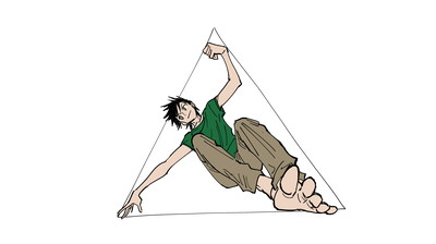 三角形で描くポーズの例2