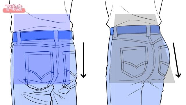 ズボンをはいたときの下半身
