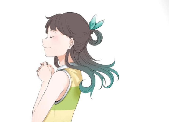 髪の毛を緑色で塗る