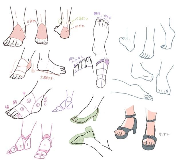 足の描き方 イラストby小峯
