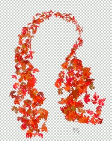 紅葉した葉のブラシ
