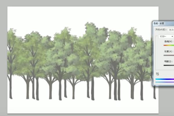 白っぽい木を描く