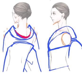 着物の襦袢の衿を見せる