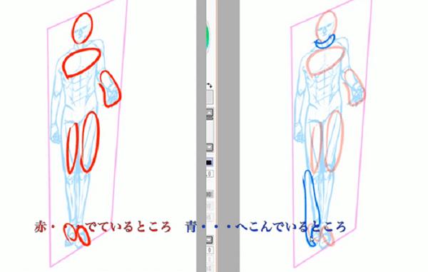 体の凹凸を描く