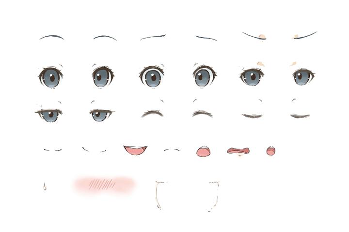 目・眉・口のパーツの組み合わせ