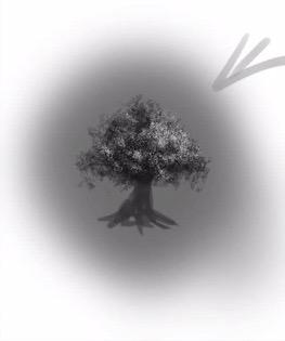 光源を意識して木を描く