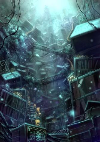 森の図書館のイラスト