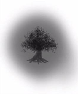 ブラシで木を描く