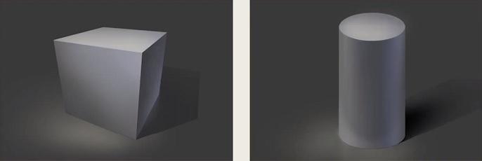 立方体と円柱のイラスト