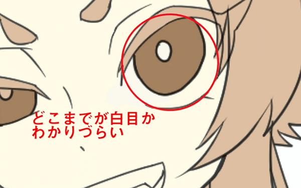 キャラクターの白目を描く