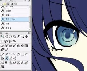 瞳孔の周りに円形を描く