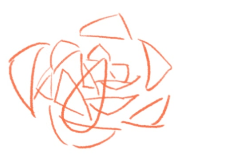 三角系の花びらを描く