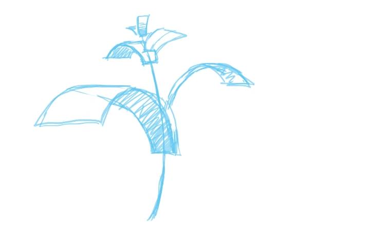 アタリから葉のラフを描く