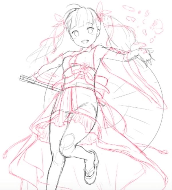桜と着物を着た女の子のラフイラスト