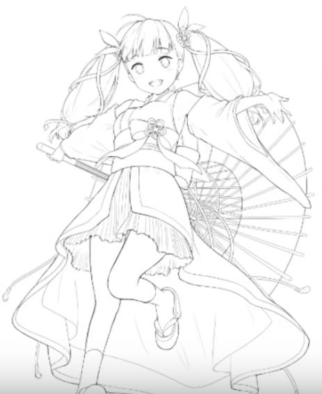 和傘を持った女の子の線画