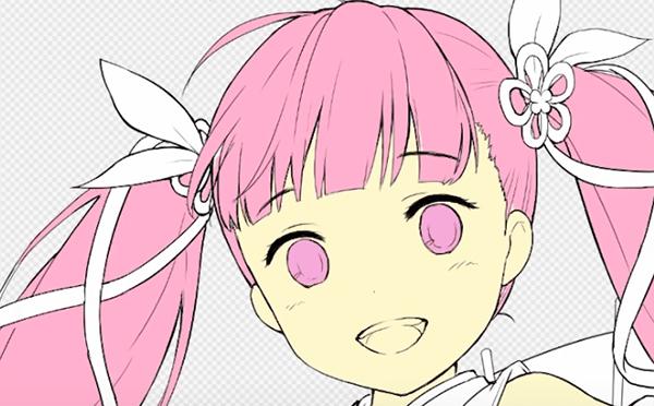 ピンク色で髪を塗る