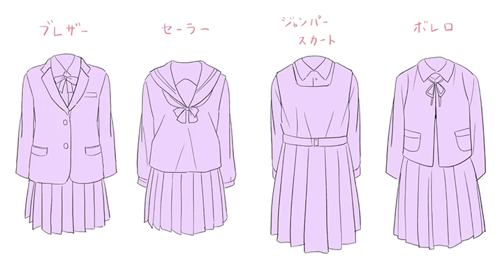 女子高生の制服の種類