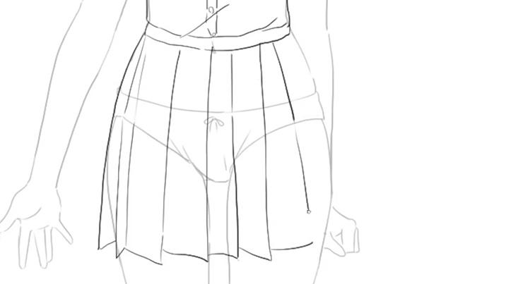 プリーツを意識してスカートを描く