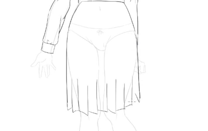 スカートは少し長めに描く