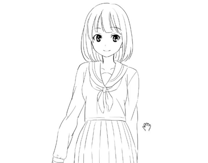 セーラーを着た女の子の完成イラスト