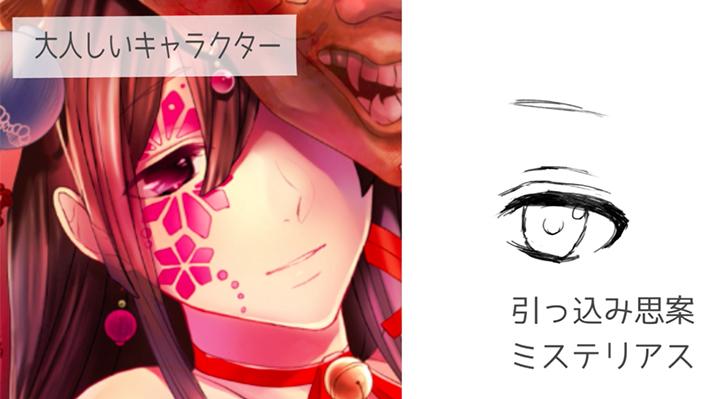 大人しいキャラクターの目