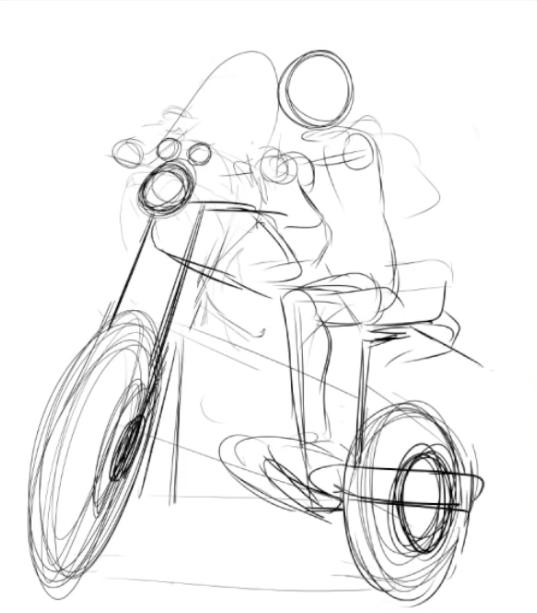 バイクのラフを描く