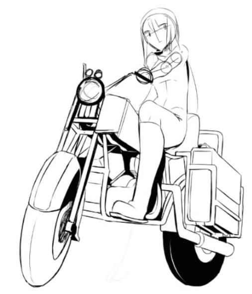 キャラクターの乗ったバイク