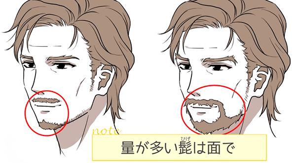 涼が多い髭は面で
