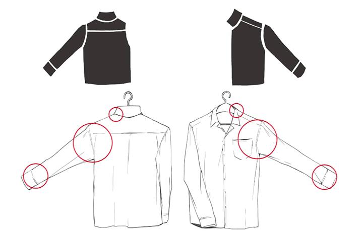 服のつなぎ目の描き方