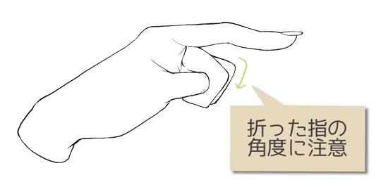 折った指の角度に注意