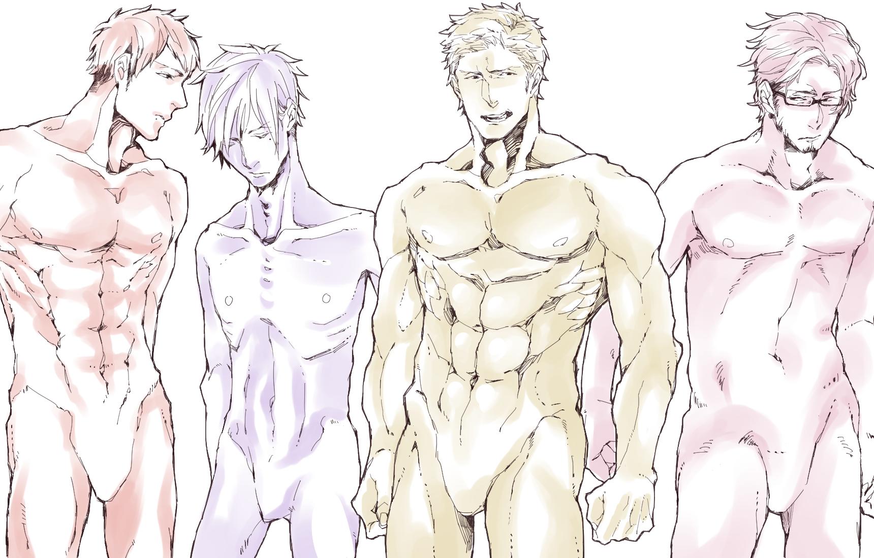 男性キャラクターの体型の描きわけ方