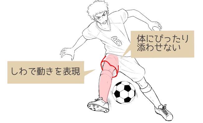 パンツのしわで動きを表現