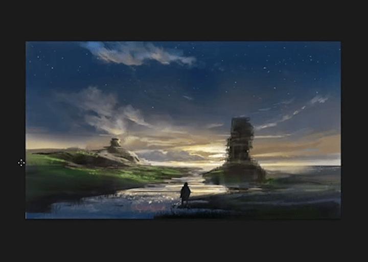 夕日と夜空の完成イラスト