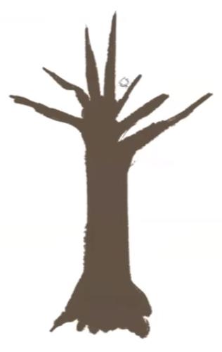木の幹の絵を塗る