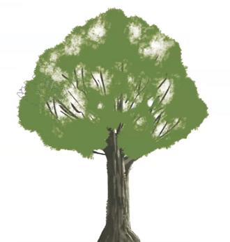 木の葉の部分を塗る